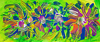 Abstract multicolored flowers  image on green background with abstract flower shapes, bended lines and spots of color in green, blue, yellow, fuchsia, orange and white and colors, with nuances.