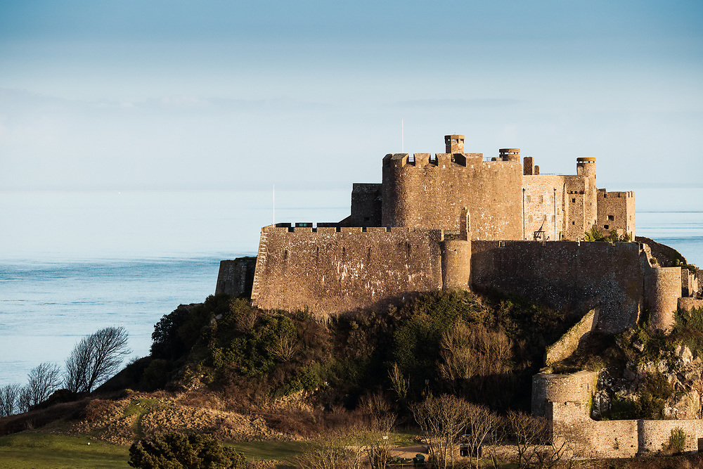 Historic museum, heirtage site and tourist attraction, Mont Orgueil Castle, at Gorey harbour, Jersey, Channel Islands