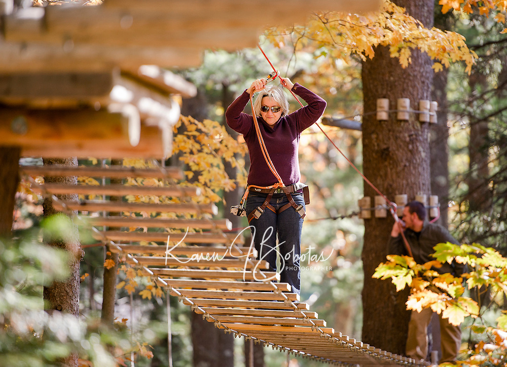 Gunstock's Aerial Treetop Adventure Ropes Course with the Wounded Warrior group.  (Karen Bobotas Photographer)