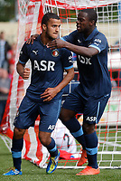 BARENDRECHT - BVV Barendrecht - Feyenoord , voetbal , oefenwedstrijd , voorbereiding , Sportpark de Bongerd , 14-07-2012 , seizoen 2012-2013 , Spelers van Feyenoord Harmeet Singh (l) en Elvis Manu (r)