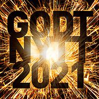 Nyttårsmarkering i form av sprakende stjerneskuddbilde og tekst «Godt nytt 2021».