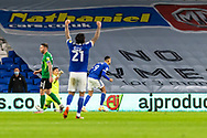 CELE Cardiff City's Marlon Pack (21) celebrates the first Cardiff goal scored by Robert Glatzel (9) during the EFL Sky Bet Championship match between Cardiff City and Birmingham City at the Cardiff City Stadium, Cardiff, Wales on 16 December 2020.