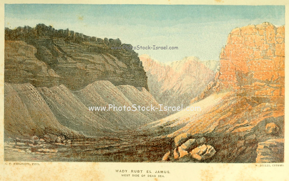 Wady Rubt el Jamus. West Side of Dead Sea from the book The land of Israel : a journal of travels in Palestine, undertaken with special reference to its physical character by Tristram, H. B. (Henry Baker), 1822-1906 Published in 1865