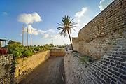 The Crusaders moat around Caesarea, Israel  10 m deep and 15 m wide. Caesarea, Israel
