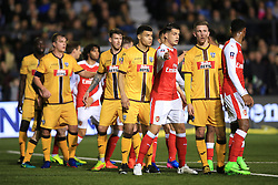 20 February 2017 - The FA Cup - (5th Round) - Sutton United v Arsenal - Players await a free kick - Photo: Marc Atkins / Offside.