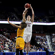 Breanna Stewart, UConn, takes a jump shot over DeVaughn Gray, East Carolina,  during the UConn Huskies Vs East Carolina Pirates Quarter Final match at the  2016 American Athletic Conference Championships. Mohegan Sun Arena, Uncasville, Connecticut, USA. 5th March 2016. Photo Tim Clayton
