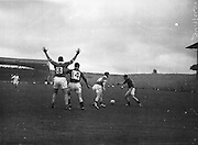 All Ireland Senior Football Championship Final, Kerry v Down, 25.09.1960, 09.25.1960, 25th September 1960, Down 2-10 Kerry 0-8,..Kerry full back N. Sheeh (no 3) appeals for free in vain, Also in picture are P O'Hagan (no 14) Down full forward, J O'Shea(no 2) Kerry right forward and B Morgan, Down left forward (on right), ..Referee  J Dowling (Offaly),.Captain K Mussen,.