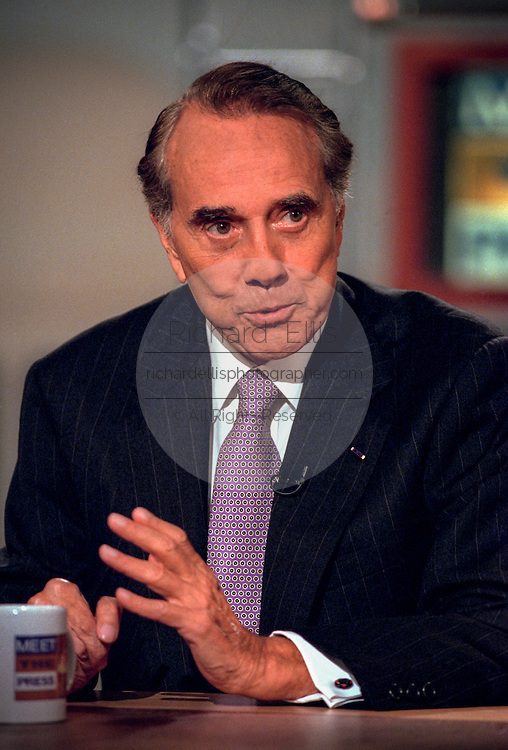 Former GOP Presidential nominee Sen. Robert Dole discusses the ongoing scandal involving President Clinton during NBC's Meet the Press September 27, 1998 in Washington, DC.