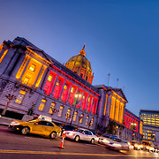 San Francisco City Hall building lit red and orange as the San Francisco 49rs were getting ready to play the Green Bay Packers in the NFL playoffs, January 2013.
