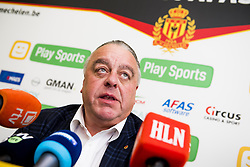 November 2, 2017 - Mechelen, BELGIUM - Mechelen's chairman Johan Timmermans pictured during a press conference of Belgian first division soccer team KV Mechelen, in Mechelen, Thursday 02 November 2017, to present their new head coach. Last week the club dismissed coach Ferrera and appointed Serbian Jankovic for a second stint, he already coached the club from May 2014 to September 2016. BELGA PHOTO JASPER JACOBS (Credit Image: © Jasper Jacobs/Belga via ZUMA Press)