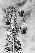 microwave parabolic dish antenna radio link on lattice tower on Mount Inkerman, Queensland, Australia<br /> <br /> Editions:- Open Edition Print / Stock Image
