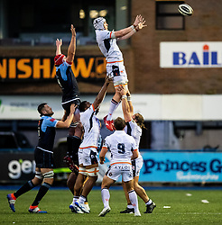 Lewis Carmichael of Edinburgh Rugby claims the lineout<br /> <br /> Photographer Simon King/Replay Images<br /> <br /> Guinness PRO14 Round 2 - Cardiff Blues v Edinburgh - Saturday 5th October 2019 -Cardiff Arms Park - Cardiff<br /> <br /> World Copyright © Replay Images . All rights reserved. info@replayimages.co.uk - http://replayimages.co.uk