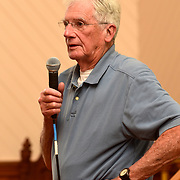 YARMOUTH, Maine -- July 26, 2019 -- Bob Gifford from Littlejohn Island presented stories of life on Littlejohn Island before the bridge was built as part of a presentation on island history at the Cousins Island Chapel this evening. Mildred Kinney and Lee Dionne from Cousins Island   started the event with stories of their home island. Guests filled the chapel to standing room only. Photo by Roger S. Duncan  207-443-9665 http://www.rogerduncanphoto.com