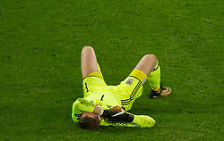 CARDIFF, WALES - Monday, October 9, 2017: Wales' goalkeeper Wayne Hennessey reacts during the 2018 FIFA World Cup Qualifying Group D match between Wales and Republic of Ireland at the Cardiff City Stadium. (Pic by Peter Powell/Propaganda)