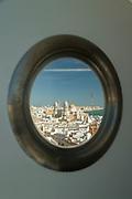 Cadiz city seen through window of Tavira Tower, Cadiz, Andalusia, Spain