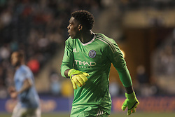 April 14, 2017 - Chester, PA, United States of America - New York City FC Keeper SEAN JOHNSON (1) watches the ball in the air in the second half of a Major League Soccer match between the Philadelphia Union and New York City FC Friday, Apr. 17, 2016 at Talen Energy Stadium in Chester, PA. (Credit Image: © Saquan Stimpson via ZUMA Wire)