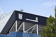 Football ground stadium Ipswich Town Football Club, Ipswich, Suffolk, England, UK club shield, Marcus Evans owner