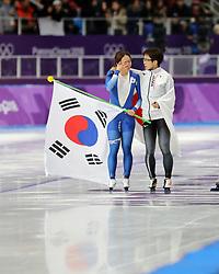 February 18, 2018 - Gangneung, South Korea - Gold medal winner NAO KODAIRA, right, of Japan comforts Silver medal winner LEE SANG-HWA of Korea after Speed Skating: Ladies' 500m at Gangneung Oval at the 2018 Pyeongchang Winter Olympic Games. (Credit Image: © Scott Mc Kiernan via ZUMA Wire)