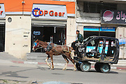 February 27, 2016 - Gaza, Palestine - <br /> A Palestinian driving a horse-drawn cart bears the old car structure on 27 February 2016 in Gaza city.<br /> ©Exclusivepix Media