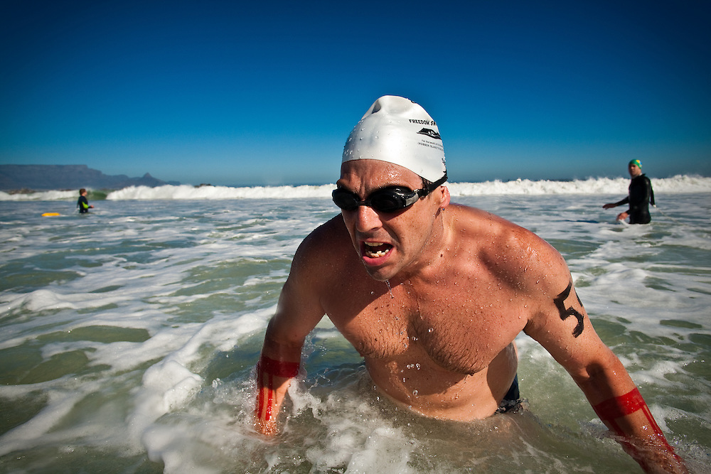 The 2010 Cadiz Freedom Swim from Robben Island to Blaauwberg, Cape Town. A 7.5km open water swim in 12 degree waters!