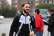 AFC Wimbledon defender Callum Kennedy (23) arriving during the EFL Sky Bet League 1 match between AFC Wimbledon and Blackpool at the Cherry Red Records Stadium, Kingston, England on 20 January 2018. Photo by Matthew Redman.