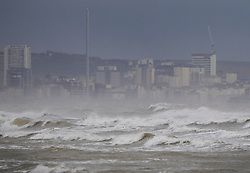 © Licensed to London News Pictures. 20/11/2016. Brighton, UK. Storm Angus waves in sight of Brighton. The south east has experienced winds of up to 80 miles per hour as the first named storm of the season hits. Photo credit: Peter Macdiarmid/LNP
