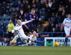Bristol Rovers' David Clarkson is fouled by Rochdale's Peter Cavanagh - Photo mandatory by-line: Matt Bunn/JMP - Tel: Mobile: 07966 386802 29/12/2013 - SPORT - FOOTBALL - Spotland Stadium - Rochdale - Rochdale v Bristol Rovers - Sky Bet League Two