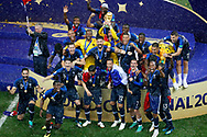 France goalkeeper Hugo Lloris lifting the trophy World Cup celebrating the win the 2018 FIFA World Cup Russia, final football match between France and Croatia on July 15, 2018 at Luzhniki Stadium in Moscow, Russia - Photo Stanley Gontha / Proshots / ProSportsImages / DPPI