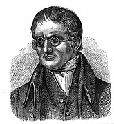 John Dalton (1766-1844) English chemist. In 1794 described colour blindness (Daltonism) from which both he and his brother suffered.  Wood engraving