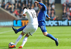 Martin Olsson of Swansea City's shot is blocked by Wayne Rooney of Everton - Mandatory by-line: Nizaam Jones/JMP - 14/04/2018 - FOOTBALL - Liberty Stadium - Swansea, Wales - Swansea City v Everton - Premier League