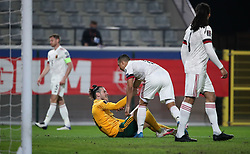 LEUVEN, BELGIUM - Wednesday, March 24, 2021: Wales' captain Gareth Bale (L) is helped up by Belgium's Youri Tielemans during the FIFA World Cup Qatar 2022 European Qualifying Group E game between Belgium and Wales at the King Power Den dreef Stadium. Belgium won 3-1. (Pic by Vincent Van Doornick/Isosport/Propaganda)