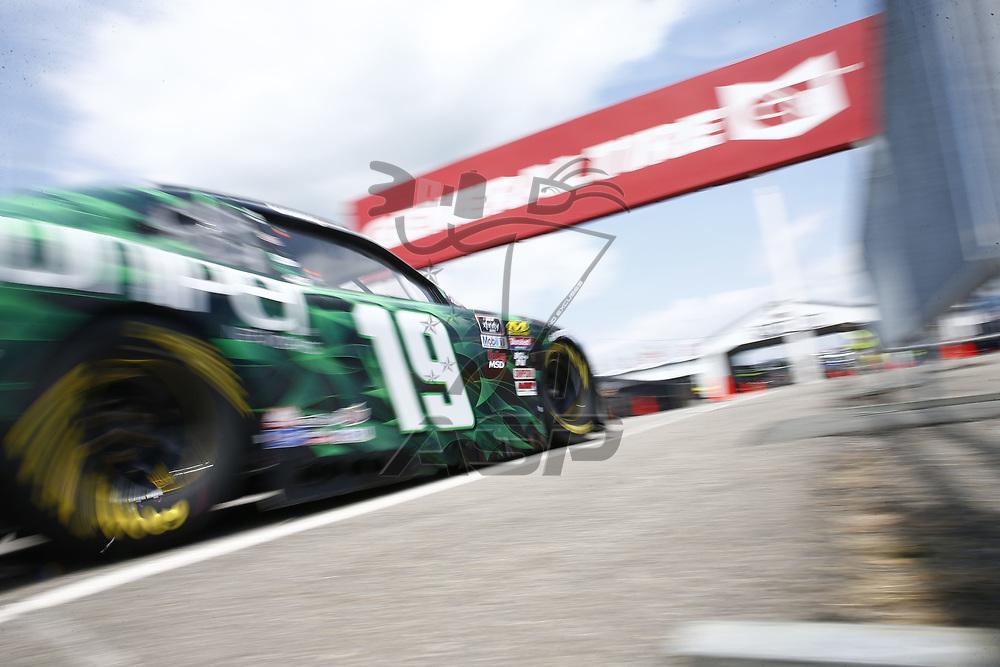 Brandon Jones (19) takes to the track to practice for the Pocono Green 250 at Pocono Raceway in Long Pond, Pennsylvania.