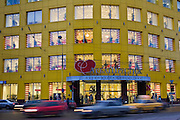 Moscow, Russia, 28/11/2006..The largest of the Arbat Prestige chain of perfumery and cosmetic stores with a branch of Vneshtorgbank behind.<br />