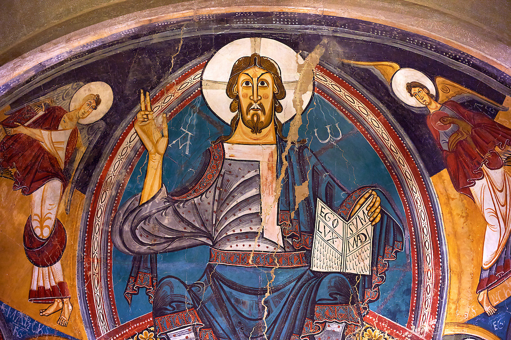 Romanesque frescoes from the Church of Sant Clement de Taull, Vall de Boi, Alta Ribagorca, Spain. Painted around 1123 depicting Christ Pantocrator or In Majesty.  National Art Museum of Catalonia, Barcelona. MNAC 15806 .<br /> <br /> If you prefer you can also buy from our ALAMY PHOTO LIBRARY  Collection visit : https://www.alamy.com/portfolio/paul-williams-funkystock/romanesque-art-antiquities.html<br /> Type -     MNAC     - into the LOWER SEARCH WITHIN GALLERY box. Refine search by adding background colour, place, subject etc<br /> <br /> Visit our ROMANESQUE ART PHOTO COLLECTION for more   photos  to download or buy as prints https://funkystock.photoshelter.com/gallery-collection/Medieval-Romanesque-Art-Antiquities-Historic-Sites-Pictures-Images-of/C0000uYGQT94tY_Y