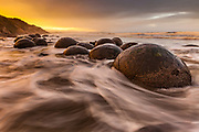 Moeraki boulders, sunset with incoming tide, Moeraki, Otago
