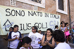 July 4, 2017 - Rome, Italy - The Movement for the Right to Housing has manifested itself at the Capitol to ask for rights and dignity for everyone, as promised by the Commune and the State. Demonstrators at the sound of drums, pots and whistles have called for the relocation of suburbs and investment in popular housing, accusing the 5-star administration to respond to the social crisis with police intervention. (Credit Image: © Elisa Bianchini/Pacific Press via ZUMA Wire)