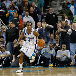 January 19, 2011; New Orleans, LA, USA; New Orleans Hornets point guard Chris Paul (3) drives down the court after a Memphis Grizzlies turnover during an overtime quarter at the New Orleans Arena. The Hornets defeated the Grizzlies 130-102 in overtime.  Mandatory Credit: Derick E. Hingle
