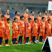 Istanbul Basaksehir's players during their Turkish Super League soccer match Istanbul Basaksehir between Galatasaray at the Basaksehir Fatih Terim Arena at Basaksehir in Istanbul Turkey on Sunday, 26 October 2014. Photo by Aykut AKICI/TURKPIX