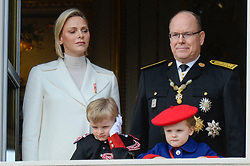 Prince Albert, Princess Charlene of Monaco with their children Prince Jacques and Princess Gabriella attending on the balcony during the military parade held in the Palace Square, during the National Day ceremonies, Monaco Ville (Principality of Monaco), on November 19, 2019. Photo by Marco Piovanotto/ABACAPRESS.COM