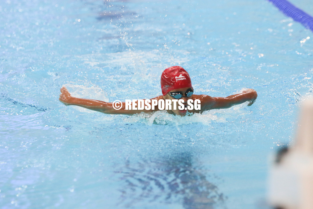 Mateen Shyam completing his 200m butterfly race. He finished third among his 11 year old peers with a timing of 2:46.11. (Photo © Chua Kai Yun/Red Sports)