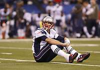 National Footbal League NFL USA<br /> 16.11.2014<br /> Foto: imago/Digitalsport<br /> NORWAY ONLY<br /> <br /> New England Patriots quarterback Tom Brady (12) looks up to watch the interception he just through on the big screen during the football game between the New England Patriots vs Indianapolis Colts at Lucas Oil Stadium in Indianapolis, IN