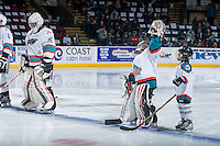 KELOWNA, CANADA - FEBRUARY 5: The Pepsi Save On Foods Players of the game skate to line up with the Kelowna Rockets against the Spokane Chiefs on February 5, 2016 at Prospera Place in Kelowna, British Columbia, Canada.  (Photo by Marissa Baecker/Shoot the Breeze)  *** Local Caption *** Pepsi Save On Foods Player;