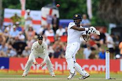 November 9, 2018 - Galle, Sri Lanka - Sri Lankan cricketer Angelo Mathews plays a shot during the 4th day's play of the first test cricket match between Sri Lanka and England at Galle International cricket stadium, Galle, Sri Lanka on 9 November 2018. (Credit Image: © Tharaka Basnayaka/NurPhoto via ZUMA Press)