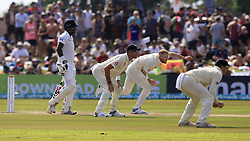 November 7, 2018 - Galle, Sri Lanka - England cricketer Ben Stokes (3L) delivers a ball amid close in fielders during the 2nd day's play of the first test cricket match between Sri Lanka and England at Galle International cricket stadium, Galle, Sri Lanka. 11-07-2018  (Credit Image: © Tharaka Basnayaka/NurPhoto via ZUMA Press)