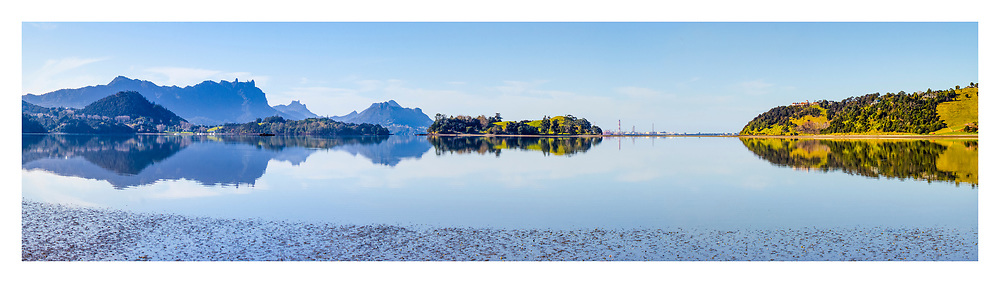 Parua Bay panorama, from the Pines Golf Course.<br /> <br /> limited edition fine art print ($145.00 +p&p)<br /> <br /> Printed on satin finish 200gsm photo paper, image size L:800mm x H:220mm. Larger print size available up to L:1.5 metre.<br /> <br /> To order direct, contact Alan info@alansquires.co.nz<br /> <br /> Available to view and purchase at The Bach, town basin - Whangarei, available as print or canvas.<br /> <br /> To order direct, contact Alan info@alansquires.co.nz