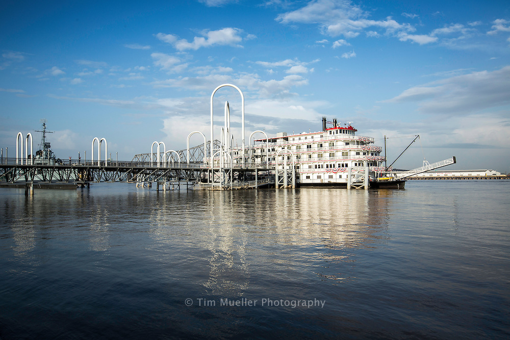 The steamboat cruise ship, Queen of the Mississippi, docks at the Baton Rouge Riverfront dock. Several cruise lines stop in Baton Rouge during trips on the lower Mississippi River.