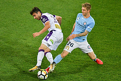 November 24, 2017 - Melbourne, Victoria, Australia - JACOB ITALIANO (26) of the Glory and LUKE BRATTAN (26) of Melbourne City compete for the ball in the round eight match of the A-League between Melbourne City and Perth Glory at AAMI Park, Melbourne, Australia. Perth won 3-1 (Credit Image: © Sydney Low via ZUMA Wire)