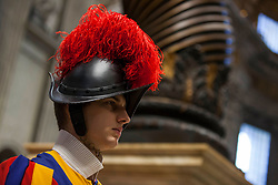 Pope Francis celebrates a Mass for the Cardinals and Bishops who have died over the course of the year in St. Peter's Basilica in Vatican City on November 03, 2018. 03 Nov 2018 Pictured: A Pontifical Swiss Guard during the Mass for the Cardinals and Bishops who have died over the course of the year in St. Peter's Basilica in Vatican City on November 03, 2018. Photo credit: Stefano Costantino / MEGA TheMegaAgency.com +1 888 505 6342