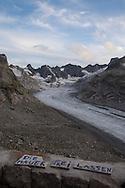la testata della valle del forno con il suo ghiacciaio vista dal rifugio Capanna del Forno.
