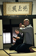 LIVING ZEN - HOSHINJI MONASTERY, OBAMA-JAPAN..Foreign visitors taking part to the morning sutra service. Hoshinji is one of the first monasteries of Soto Zen Buddhism, to become very popular to western scholars of Zen.